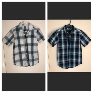 Lot of 2 10 12 Large short sleeve button up shirt